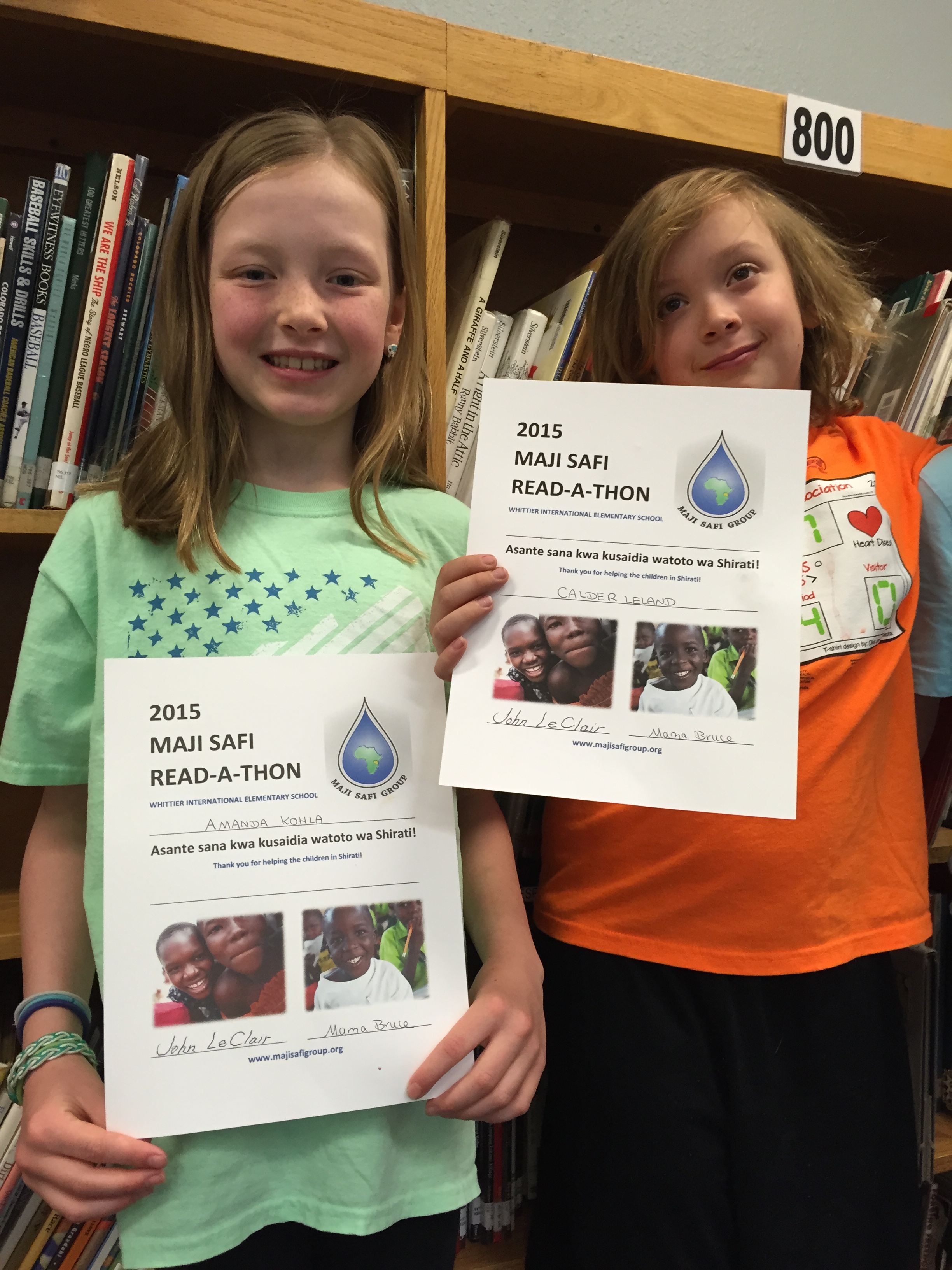 Third graders Amanda Kohla and Calder Leland