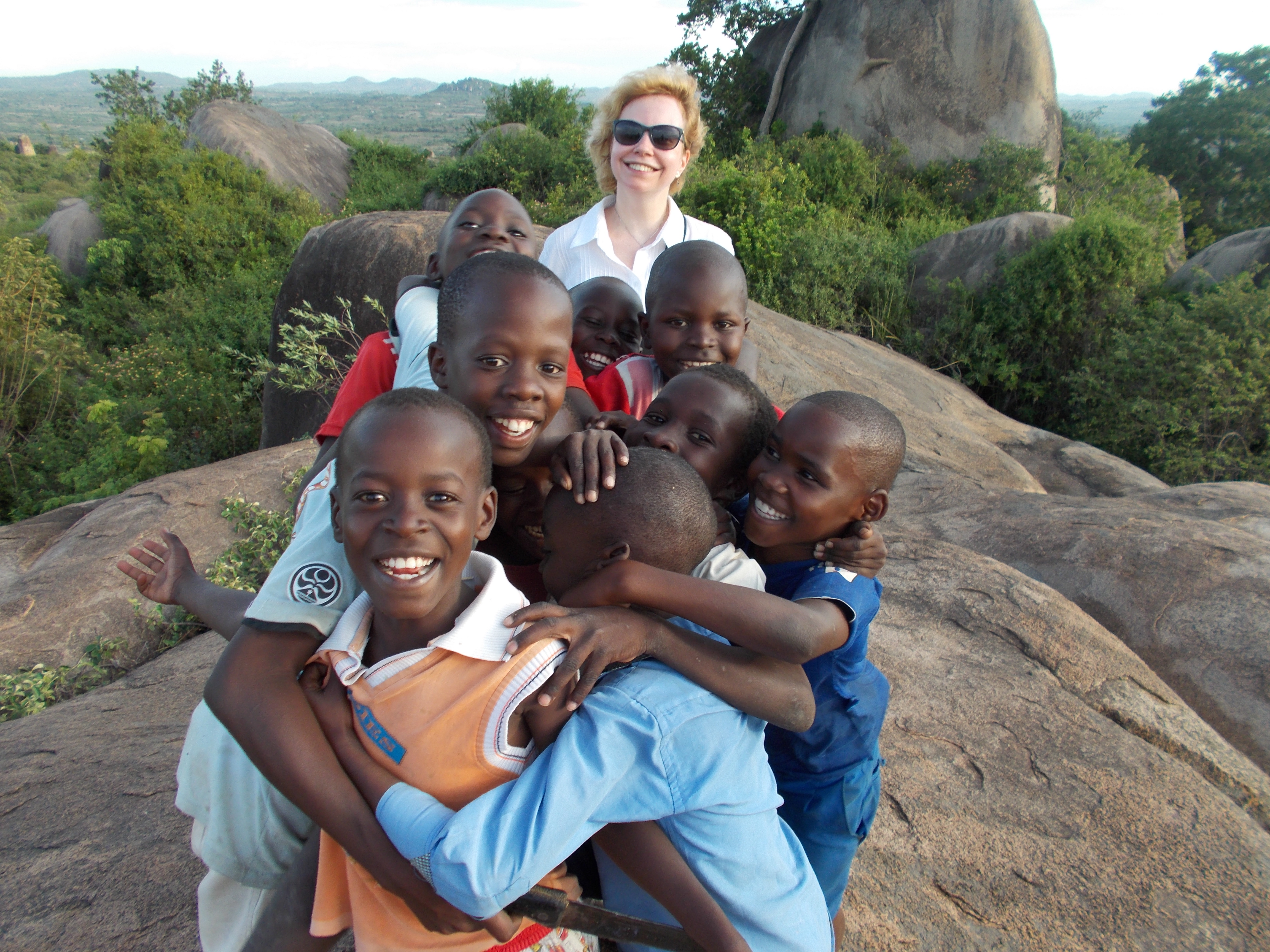 Susan with some children in Shirati