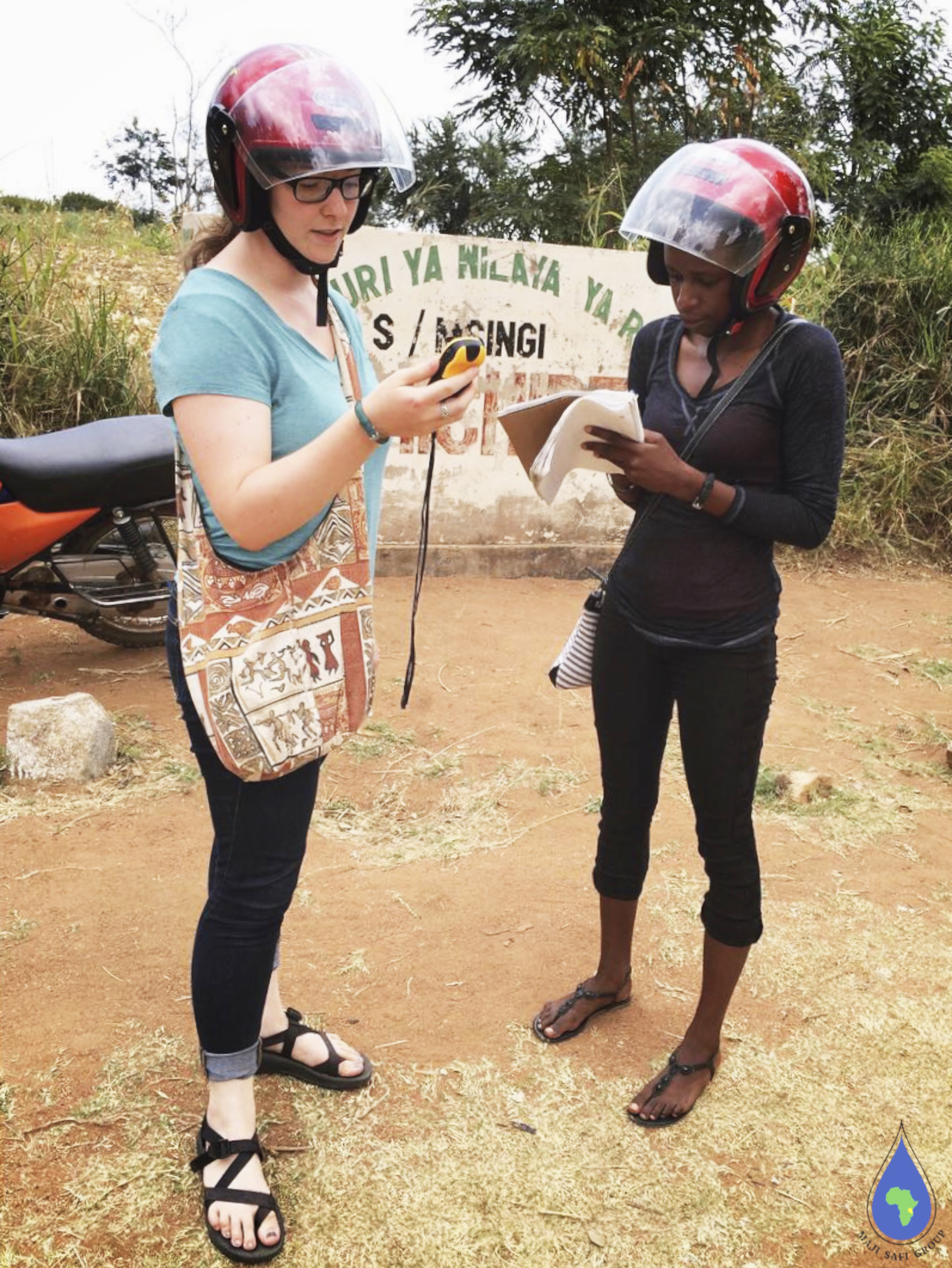 Michelle and Dorothy taking GPS points at one of the schools.